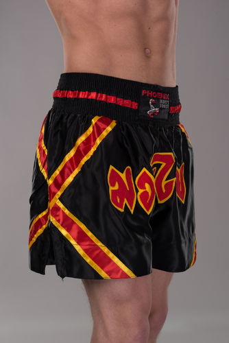 BUDO's FINEST Thai Shorts Schwarz Gold Rot